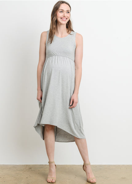 High Low Maternity Nursing Dress in Heather