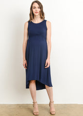 High Low Maternity Nursing Dress in Navy