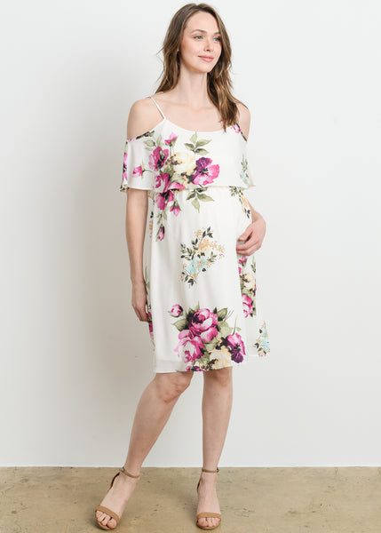 Cold Shoulder Shoulder Dress in White Floral