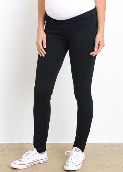 Mid Rise Ponti Pant in Black