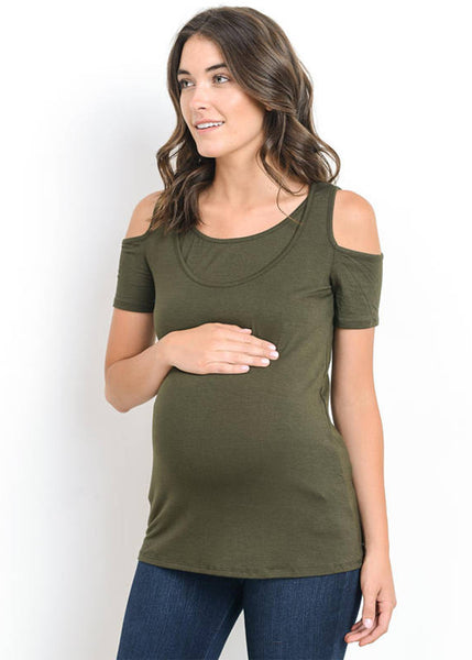 Cold Shoulder Top in Olive
