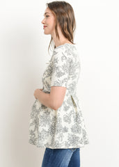 Short Sleeve Peplum Top in Ivory Floral