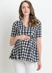 Short Sleeve Peplum Top in Navy Houndstooth