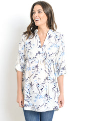 Tie Waist Blouse in Blue Floral Print