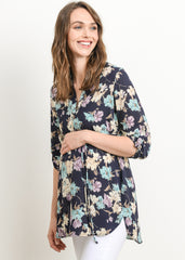 Tie Waist Blouse in Navy Floral Print - modish MATERNITY