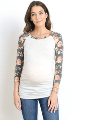 Scoop Neck Raglan Sleeve Top in Grey Floral