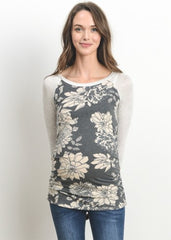 Scoop Neck Raglan Sleeve Top in Black Floral - modish MATERNITY