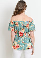 Maternity Tops - Off The Shoulder Top in Teal Floral Print
