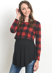Layered Nursing Sweater in Red Plaid
