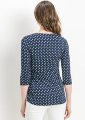 Pleat Front Top in Navy Medallion