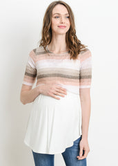 Maternity Nursing Tops - Layered Nursing Sweater in Coral Stripe