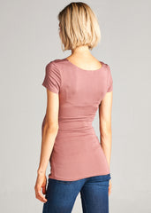 Maternity Nursing Tops - Anya Cap Sleeve Top in Mauve