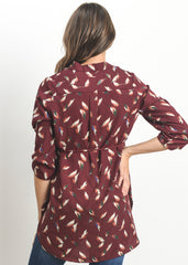 Tie Waist Blouse in Burgundy Feather Print - modish MATERNITY