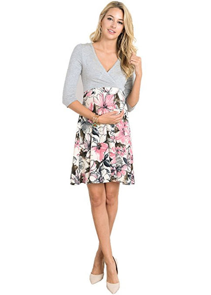 Cross Over A Line Dress in Grey Pink Print
