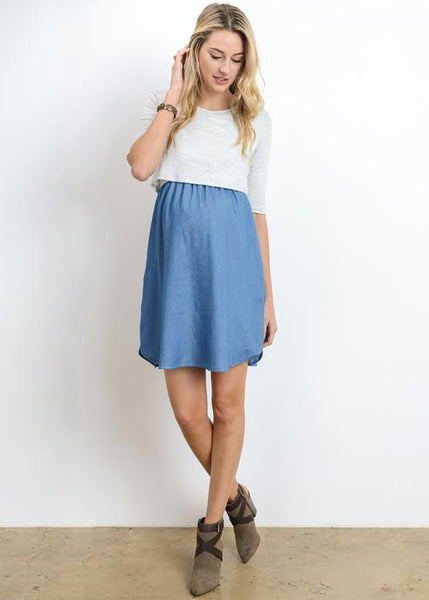 Elbow Sleeve Maternity Nursing Dress in Light Denim