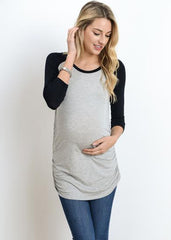 Scoop Neck Raglan Sleeve Top in Grey Black