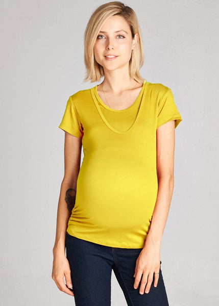Scoop Neck Tee in Mustard