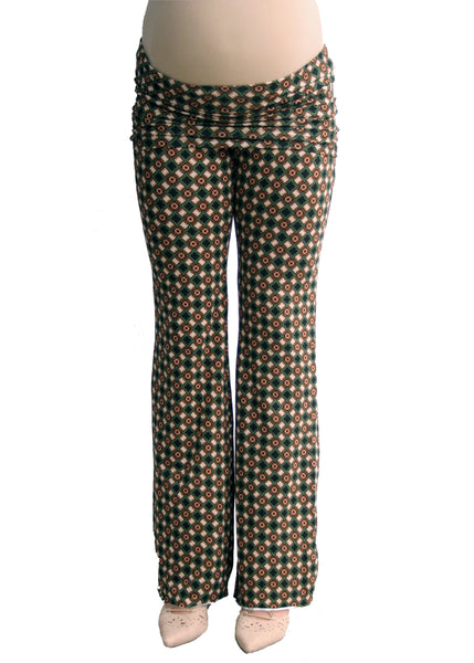 Yogi Knit Pant in Green Geo Print