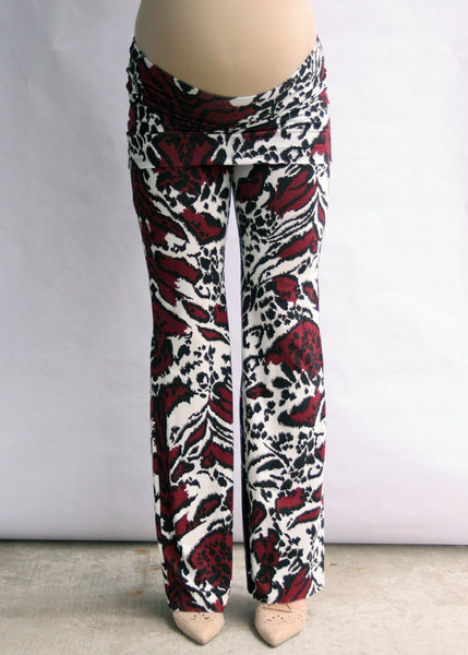 Yogi Knit Pant in Burgundy Damask Print
