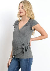 Audrey Top in Marled Grey - modish MATERNITY