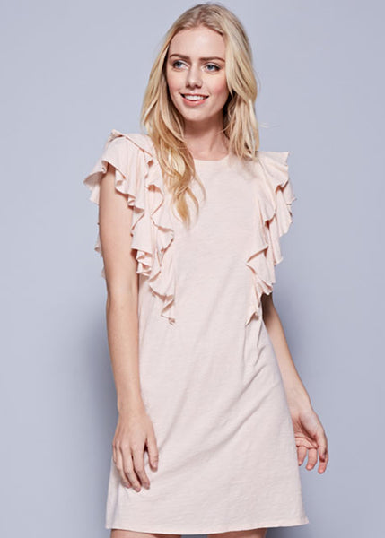 Ruffle Sleeve Tunic in Pale Peach