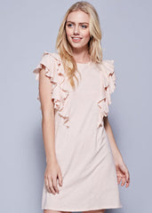 Ruffle Sleeve Tunic in Pale Peach - modish MATERNITY