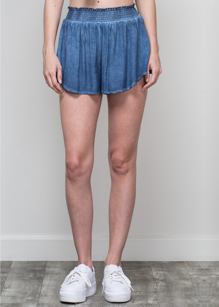 Smocked Flutter Shorts in Indigo