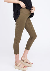 Maternity Jeans - Isla Ankle Moto Jegging in Pickle