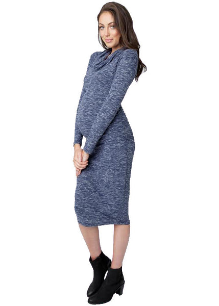Ribbed Roll Neck Dress in Navy