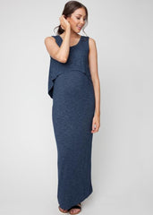 Swing Back Maxi Dress in Denim Blue
