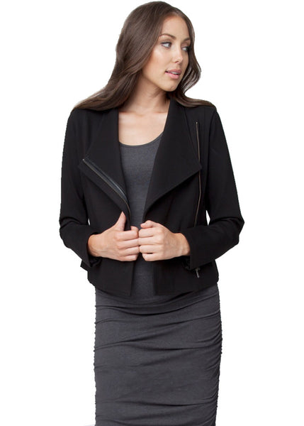 Zip Crop Ponte Jacket