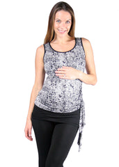 Emma Top in Black Crosshatch Print