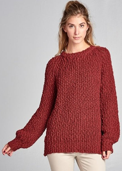 Balloon Sleeve Chunky Sweater in Rust