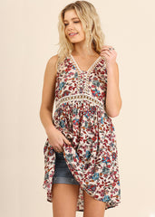 Maternity Tops - Floral Print Tunic in Cram Floral Print