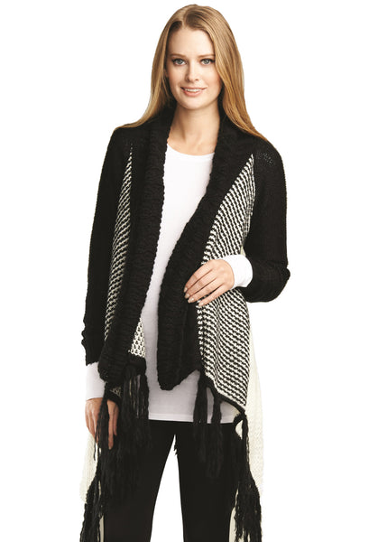 Cardigan With Fringe in Black and White