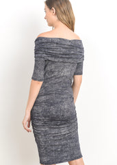 Maternity Dresses - Bare Shoulder Body Con Dress in Navy Static
