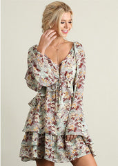 Floral Print Ruffle Dress in Cream Print
