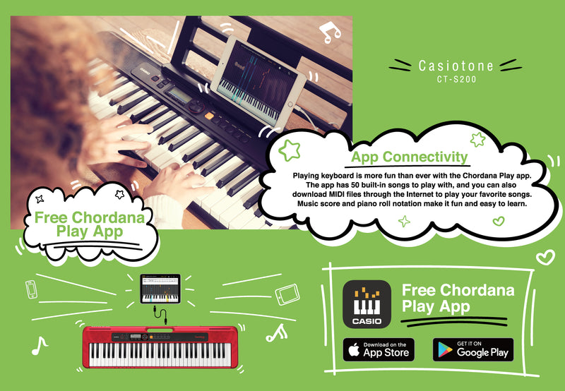 Casiotone CT-S200 - Basic Electronic Music Keyboard for beginnersCasiotone CT-S200 - Basic Electronic Music Keyboard for beginners. Lightweight, portable & stylish.