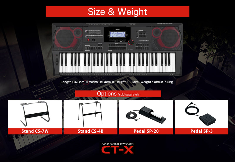 Casio CT-X5000 Professional Music Arranger Keyboard with superior sounds., powered by the AiX sound source. Equipped with 800 Tones & 235 Rhythms, enjoy realistic tones with the massive 30 Wats amplifier speaker system.  Plug in a mic and start performing.