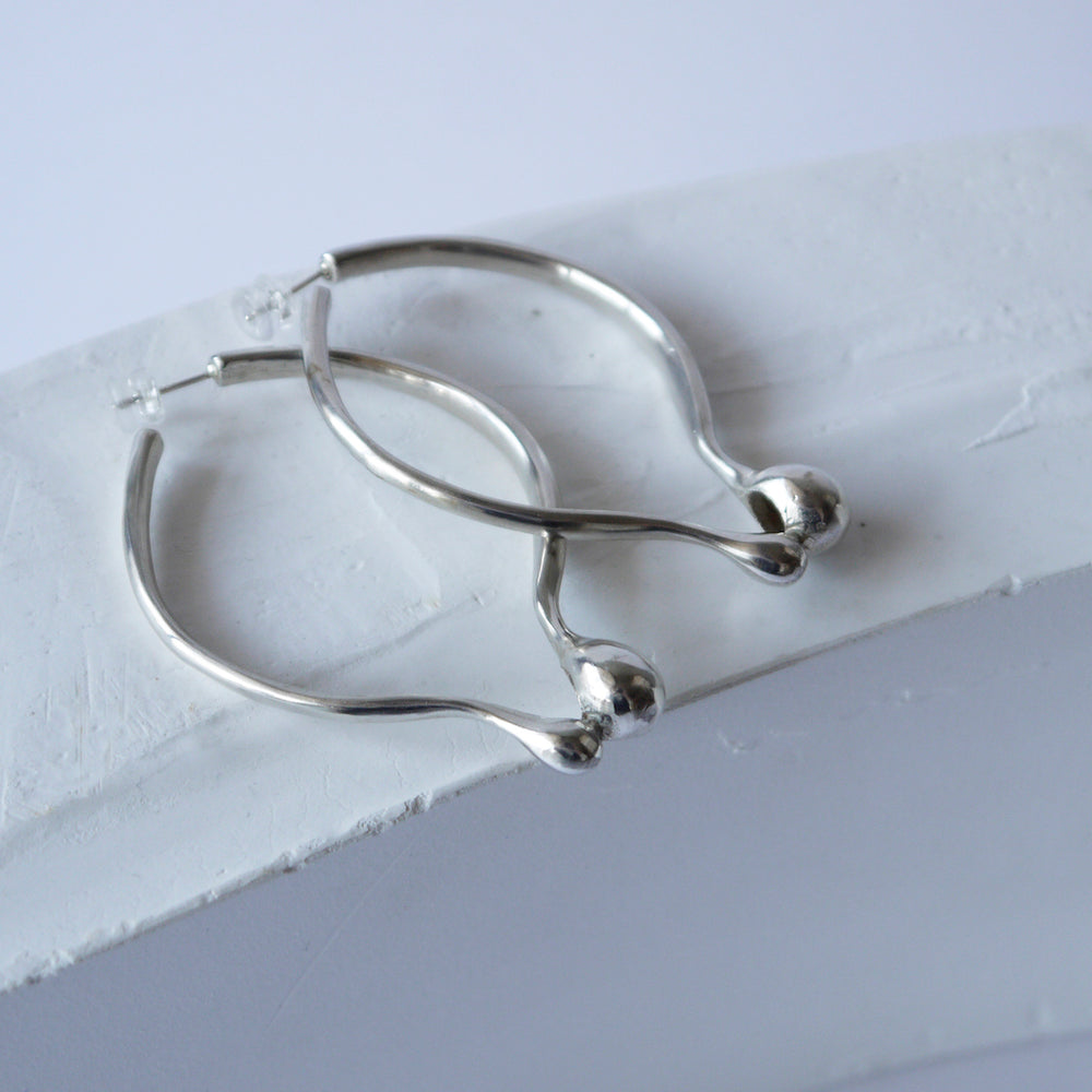 brillpiece bulb oval earring (SILVER)