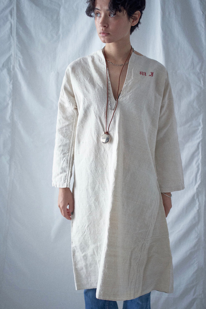 Vintage French Cream Linen Smock Dress