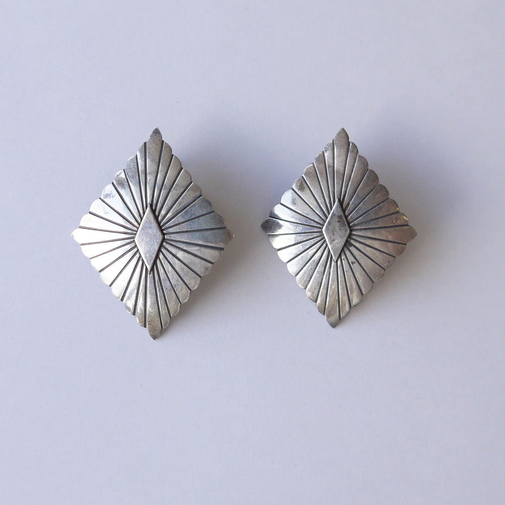 Vintage Native American Diamond Concho Earrings