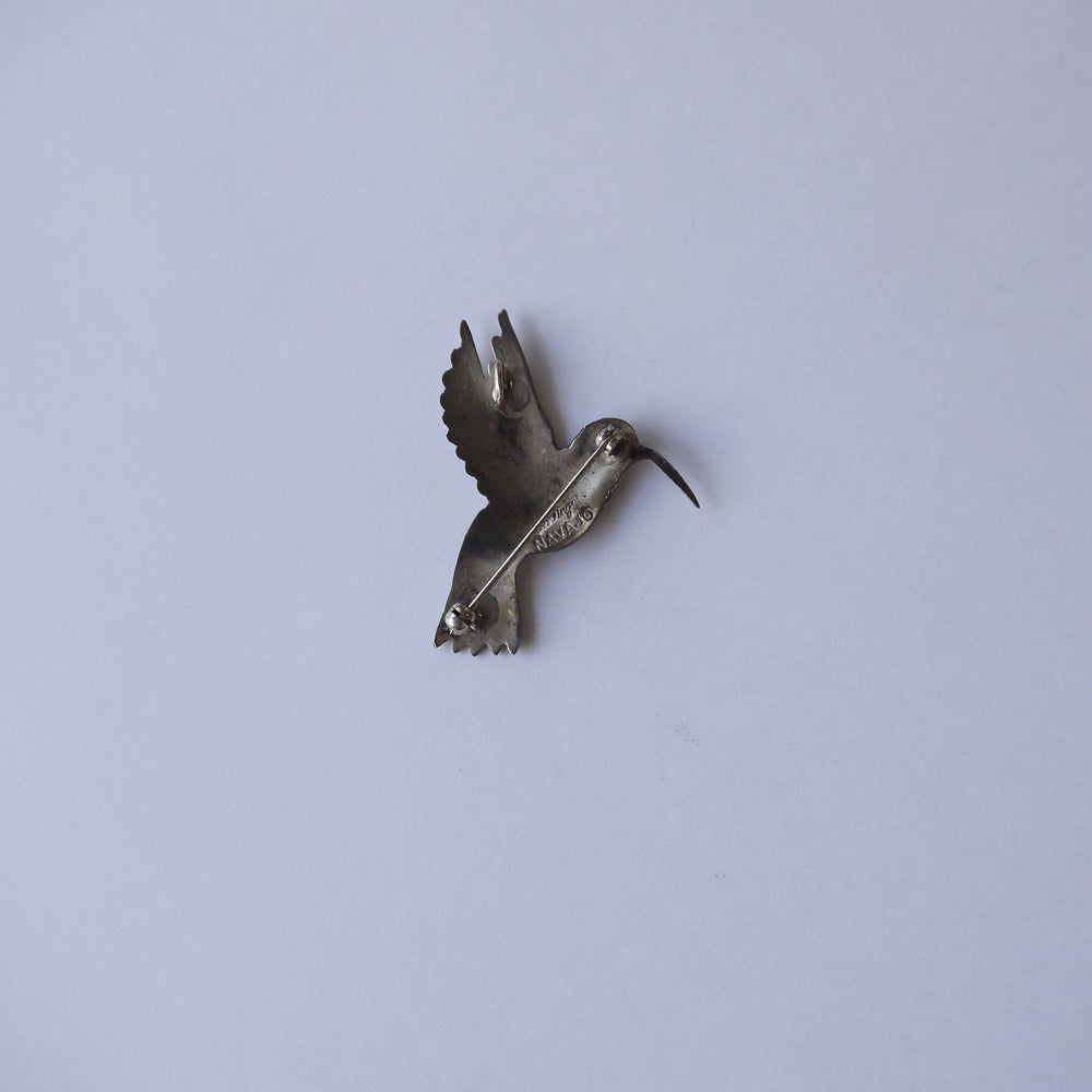 Load image into Gallery viewer, Vintage Navajo Sterling Hummingbird Brooch