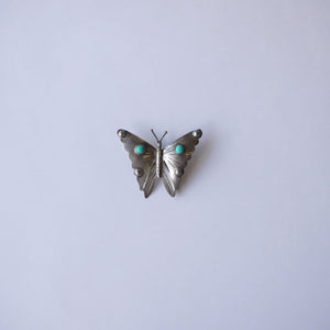 Vintage Two Mexico Butterfly Turquoise Brooches 大