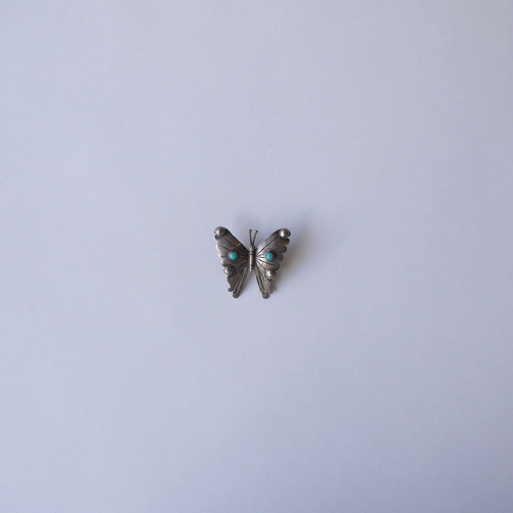 Vintage Two Mexico Butterfly Turquoise Brooches 小