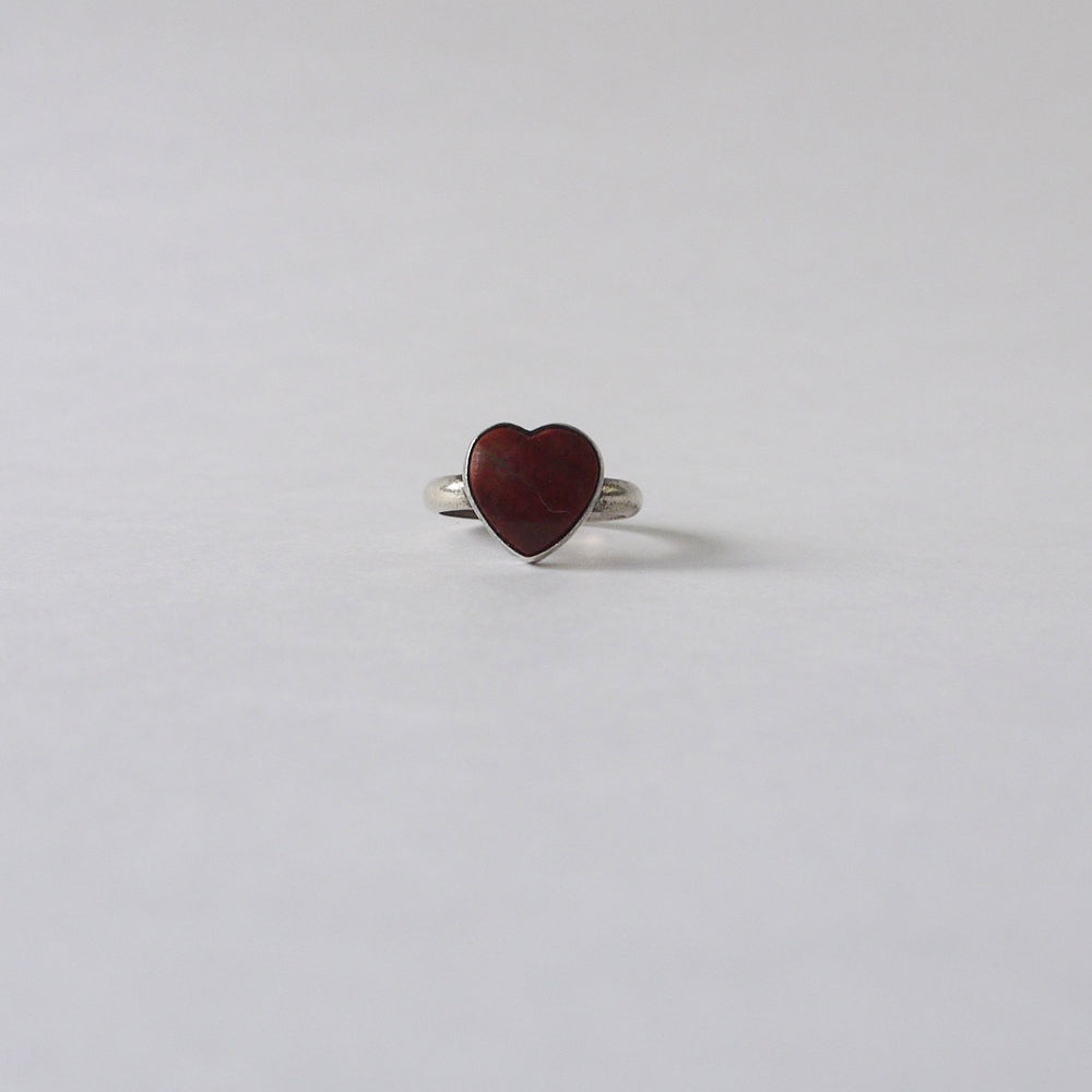 Vintage Native American Red Jasper Heart Ring