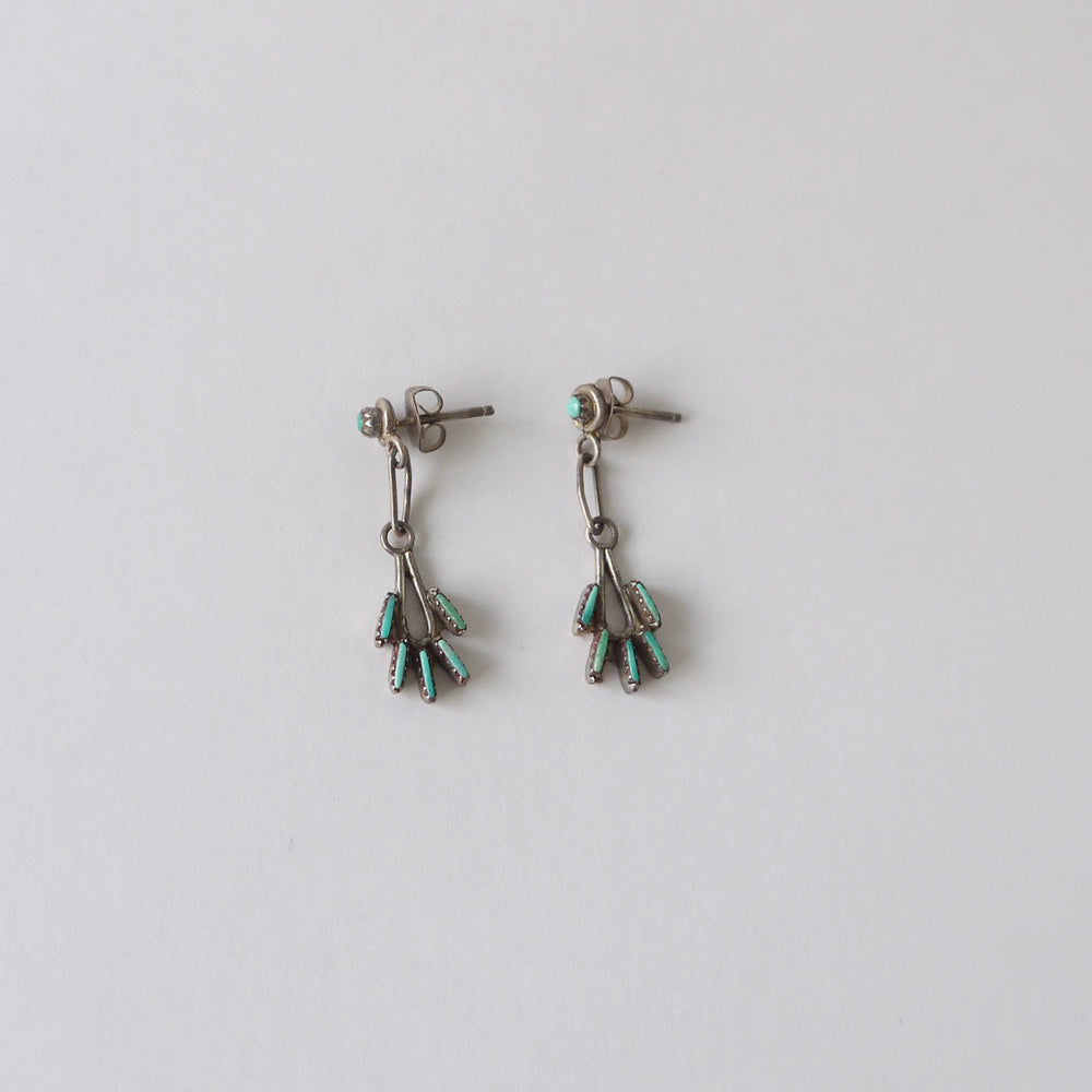 Vintage Native American Sterling Needle Turquoise Dangle Earrings