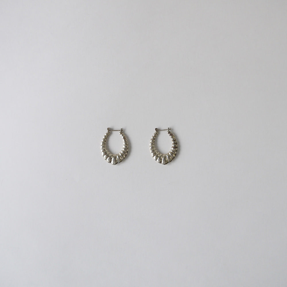 Vintage Sterling Ribbed Hoop Earrings