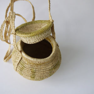 Load image into Gallery viewer, Vintage Small Round Panama Raffia Basket Purse