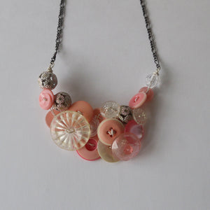 Vintage Button Necklace Pink